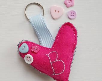 Pretty initial heart keyring charm. Heart keyring. Bookbag charm. Handbag charm. Wedding favour.
