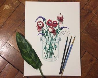 Mason Jar of Emotions with Lavender Prints