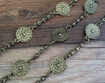 1m antique bronze  Chain flower chain