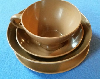 Vintage Brown Melamine Place Setting - teacup, small plate or saucer, small bowl, medium bowl, four piece place setting