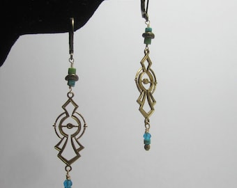 Turquoise and Apatite Brass Dangle Earrings