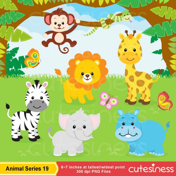 jungle clip art jungle digital papersjungle clipartjungle rh etsy com baby jungle animals clipart clipart jungle animals black and white