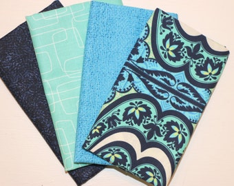 4 Fat Quarters (navy and teal) - Cotton fabric