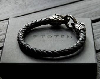 Black Silver Wolf Bracelet, Sterling Silver Wolf Bracelet, House of Stark Bracelet, Game of Thrones Jewelry, Silver Bangle, Wolf Armband