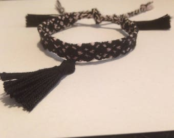 Cotton weaved bracelet black and pink.  Handmade by me.