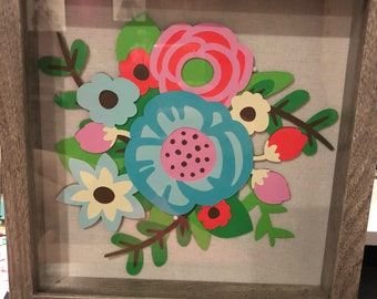 Shadow box wall decor - flower