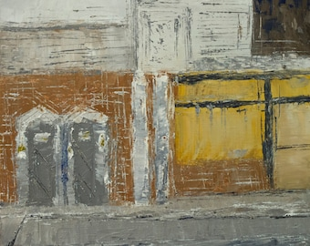 Closed Gas station, Textured Surface, Original Urban Landscape, Cityscape Oil painting, Palette Knife, earth tones, 8in x 8in, port-a-johns