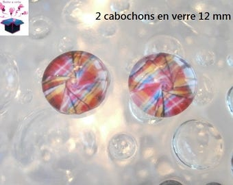 2 glass cabochons 12 mm for loop or ring madrasse theme