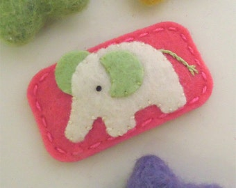 Felt hair clip -No slip -Wool felt -New elephant -coral red