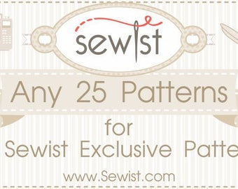 Any 25 PDF Sewing Patterns, Custom Size