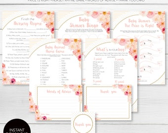 Printable Baby Shower Games Pack - Instant Download -  Watercolour Floral - Abbieville Floral