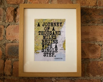 Confucius Inspirational Travel / Philosophy Quote Print - Hand-Pulled Screenprint.