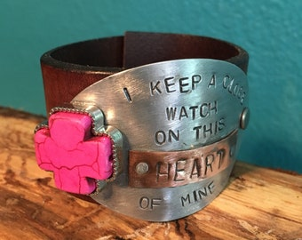 "Hand Stamped ""I Keep a Close Watch on This Heart of Mine"" Vintage Leather Cuff"