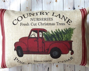 Red Truck Christmas Pillow- Holiday Pillow - Christmas Decor - Christmas Tree Truck - Gift for Her - Farmhouse Decor - Christmas Decoration