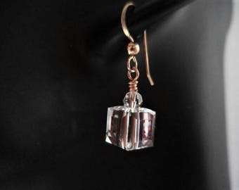 Clear Crystal Cube Earrings with gold filled earwires, Gold and Crystal Dangles, Swarovski Crystal Cubes, Geometric Cubes with Gold Accents