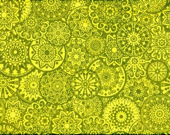 Cotton material,  olive green and yellow mandalas, Free Spirit