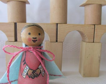 Princess Peg Doll with Cloak -watercolored large size 3.5""