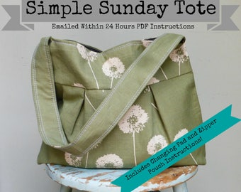 Simple Sunday Tote - - Bag 2 Sizes - - Adjustable Strap - - Color Photos - - Emailed within 24 hours
