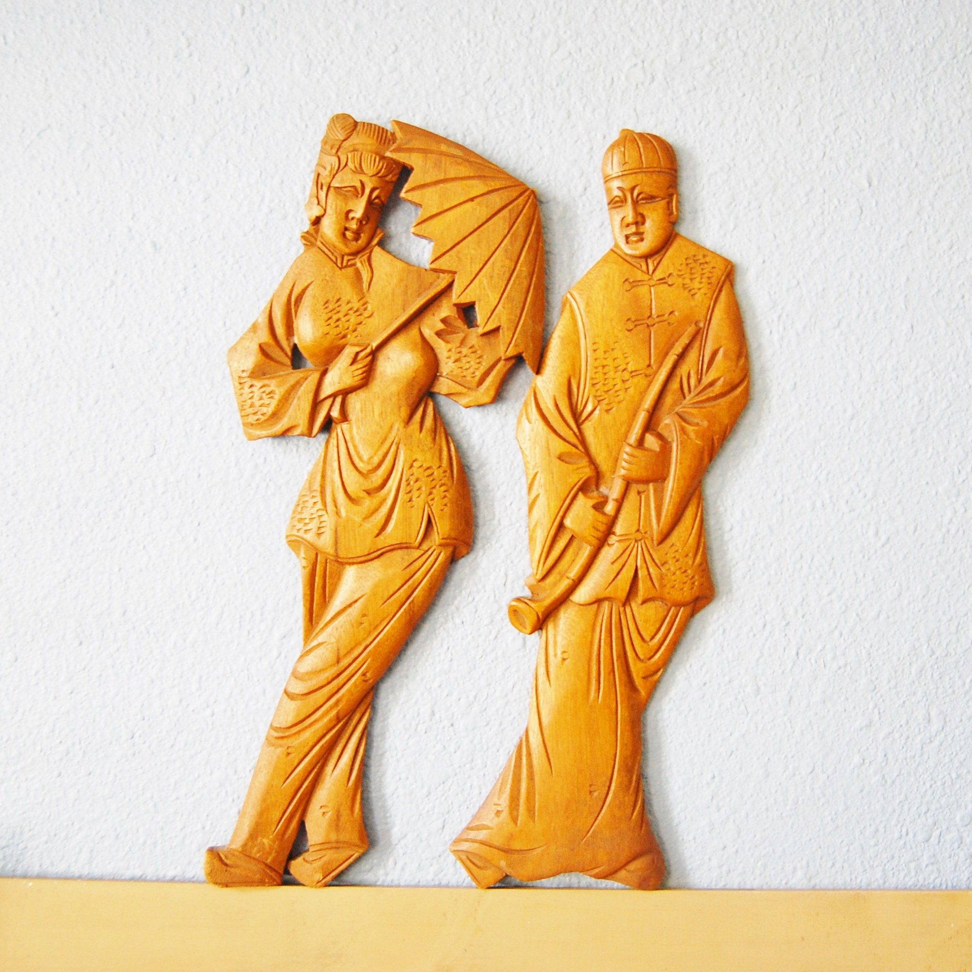 Vintage 1950s Carved Asian Wall Figures Man and Woman Teak