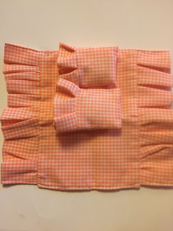 Sale Miniature peach gingham Ruffled Comforter and Pilllowcases  and Pillows
