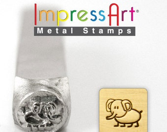 "Ellie ELEPHANT METaL STAMP 6mm 1/4"" Steel Punch Zoo Animal Ellie ImpressArt Custom Stamping Jewellery Tool CraftPersonalized Jewelry"