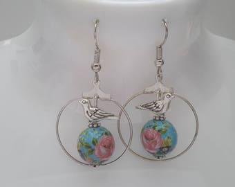 small hoop tensha bead earrings