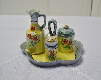 Vintage Lusterware Cruet Set Asian Kitchen Decor Yellow Blue Floral Japan PanchosPorch