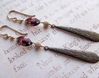 Brass Teardrop Earrings - Swarovski Earrings, Pink Earrings, Teardrop Earrings, Downton Abbey, Edwardian Earrings, Victorian Earrings