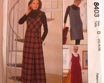 Easy Sew Misses Jumper, Two Lengths, Semi-fitted, Scoop Neck, Lined Empire Bodice, Slightly A-line Skirt Sizes 12 14 16 McCalls Pattern 8403