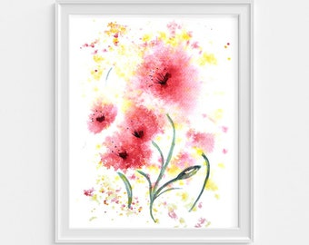 Red flower artwork, Downloadable wall art, Abstract flower painting, Digital Download, printable image