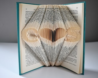 Wedding Gift, Gift For Book Lovers, Folded Book Art with Personalized Initials, Gift for Reader