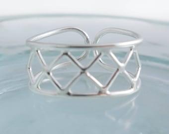 925 Sterling Silver Geometric Toe Ring, Toe Ring, Summer Toe Ring, Adjustable Toe Ring, Geometric Toe Ring, Festival Toe Ring, Boho Toe Ring