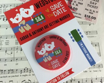 Wedding Woodstock Festival inspired Save The Date Magnets (Complete With Backing Postcards) Wedstock
