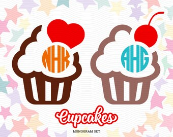 Cupcakes with Heart and Cherry Monogram Frames (SVG, EPS, DXF Studio3) Cut Files - Silhouette Studio, Cricut Design Space, Cutting Machines