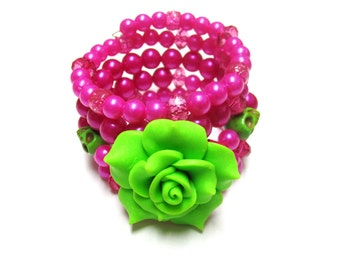Day of the Dead Bracelet Sugar Skull Jewelry Wrap Hot Pink Lime Green Rose