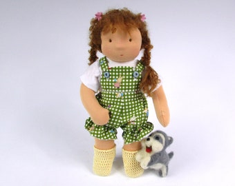 Waldorf Doll with felted Husky and 2 outfits