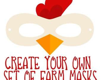 Create Your Own Set of Farm Animals Masks--Farm Masks, Halloween Mask Birthday Party Favors Mask Horse Mask Pretend Play Creative Play