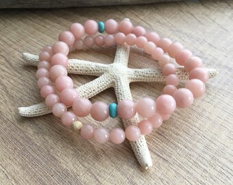 Pink Peruvian Opal and Turquoise Stretch Bracelet Set