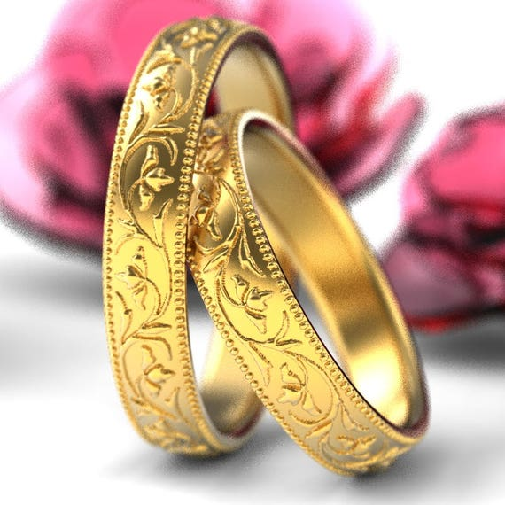 RESERVED FOR Paulo Set of 14K or 18K Gold Stacking Ring Set, Stackable Wedding Rings, Floral Ring Gold, Custom Made in Your Size Cr-5032
