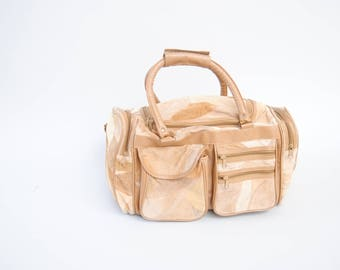 Vintage Duffel Bag 80s Tan Leather Suede Travel Over Head Bag Overnight Bag Patchwork Leather Duffle Bag