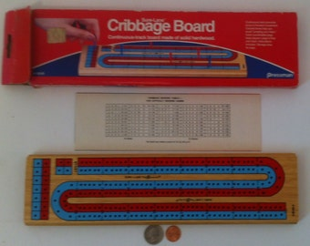 Vintage Cribbage Board Game, In Box, Pieces are Inside the Board, Solid Hardwood, Vintage Board Game, Moving Pieces, Pressman, Wood Game
