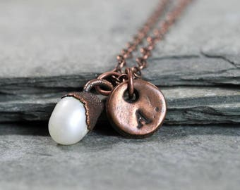 Pearl Necklace - June Birthstone - Initial Pendant - Copper Necklace - Personalised Jewelry