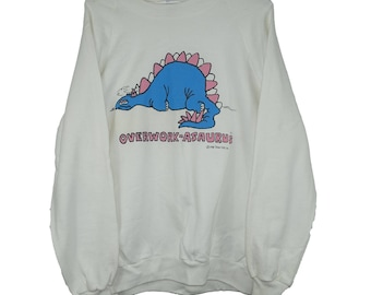 Vintage 1980s Dinosaur Overwork-Asaurus 1988 Vintage Raglan White Sweatshirt - XL