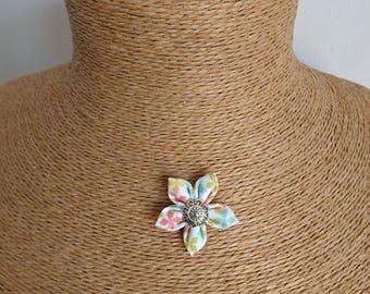 Original fabric Flower necklace