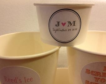 50 White Paper Ice Cream Cups 4 oz with Custom sticker