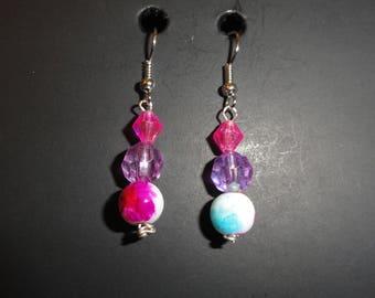 Pink & Purple Dangle Earrings