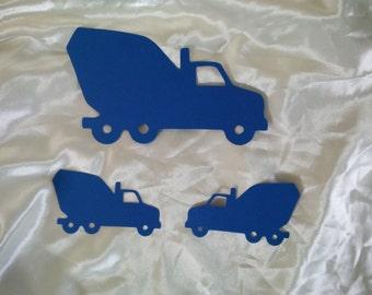 Set of 3 Cement Truck Construction Party Decor Cut Outs