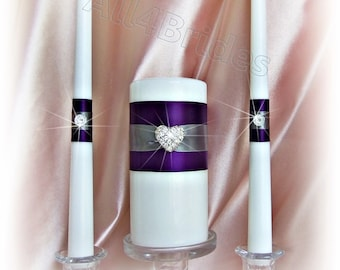 Unity wedding candle set | Purple and Grey | Weddings Ceremony Candles