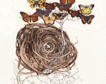 butterfly tree caterpillar nest original watercolor painting