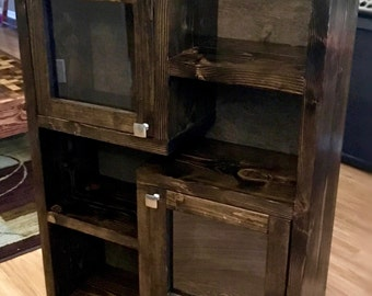 Rustic Liquor Collectible Cabinet-Shelf